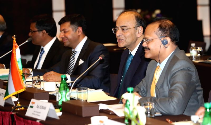 Visiting Indian Finance Minister Arun Jaitley (2nd from R) speaks during the 5th Korea-India Finance Ministers' Meeting at a Seoul hotel on June 14, 2017. - Arun Jaitley