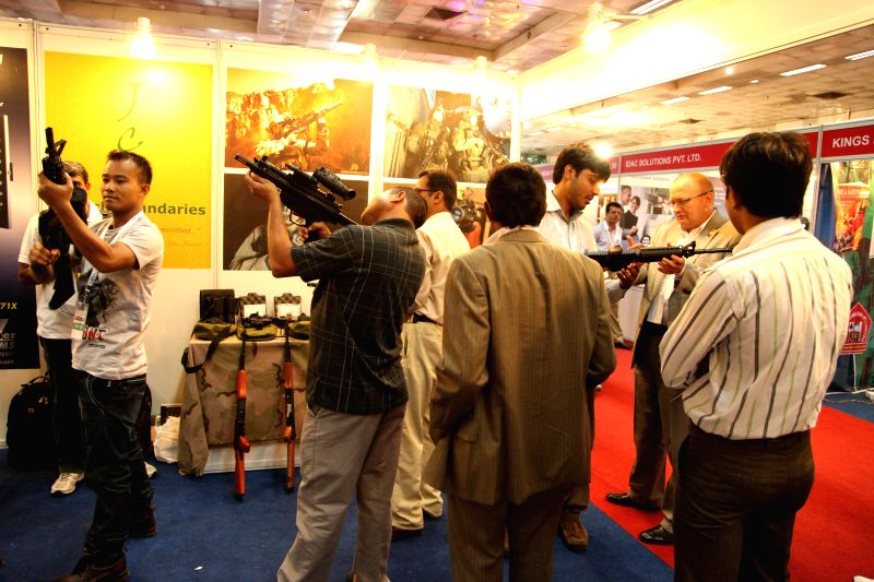 Visitors at  International Police Expo 2014 in New Delhi on July 19, 2014.