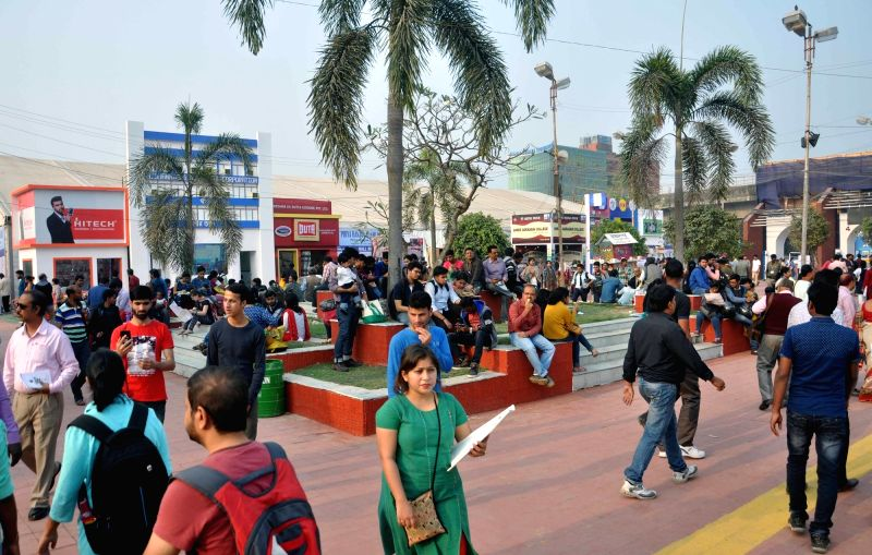 Visitors during International Kolkata Book Fair on Feb 2, 2018.