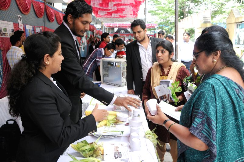 "Visitors during ""Vanya"" Marketing exhibition organized by M P Birla Institute of Management at Bharatiya Vidya Bhavan in Bangalore on June 24, 2014."