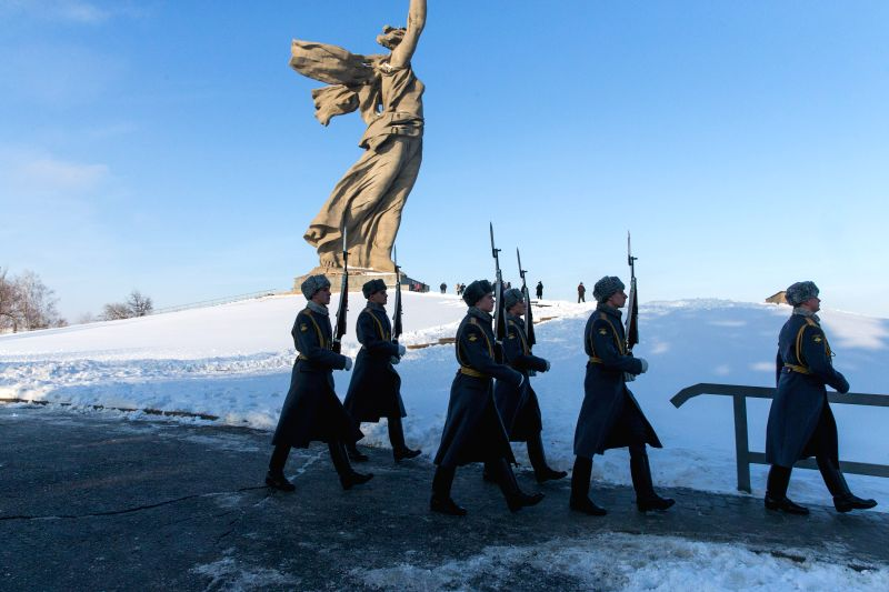 VOLGOGRAD (RUSSIA), Feb. 2, 2018 Soldiers parade on Mamayev Kurgan, on which the Battle of Stalingrad State Historical and Memorial Museum-Reserve is located, in Volgograd, Russia, on ...