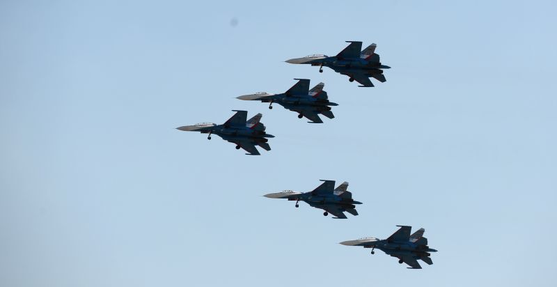 Aircrafts perform during an airshow of the Aviadarts-2014 air force competition in Voronezh, Russia, July 26, 2014. The event, started from July 22 to July 28, ...