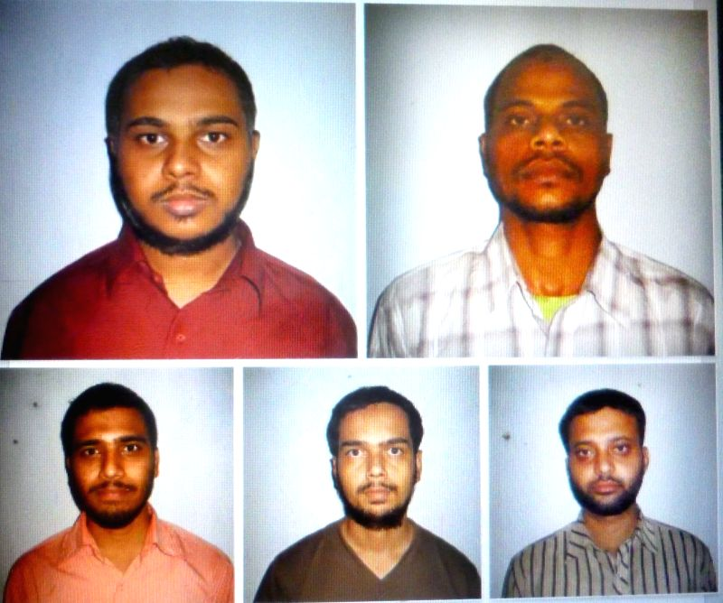 (A Combo Picture) The five terror accused who were gunned down by police as they tried to escape from their custody in Telangana's Warangal district on April 7, 2015. (File Photo: IANS)