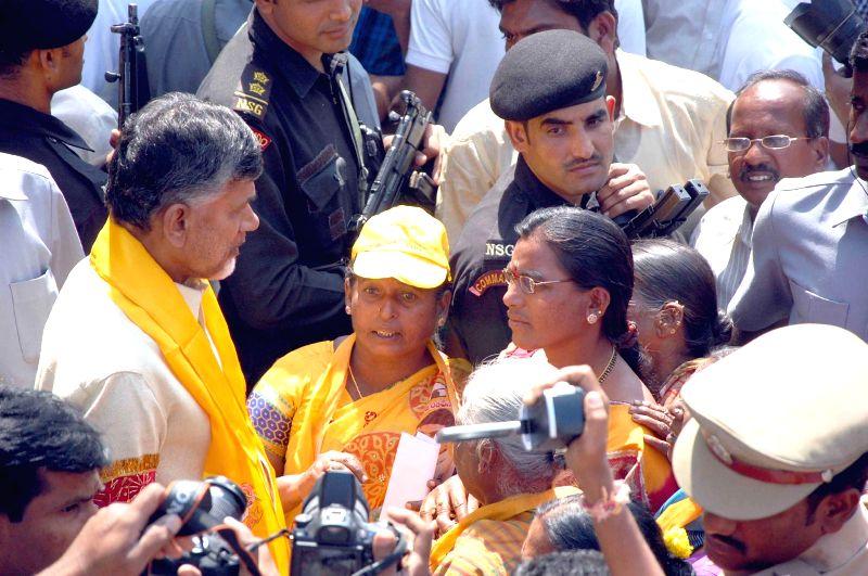 Andhra Pradesh Chief Minister N. Chandrababu Naidu during his visit to Warangal in Telangana on Feb 12, 2015. - N. Chandrababu Naidu