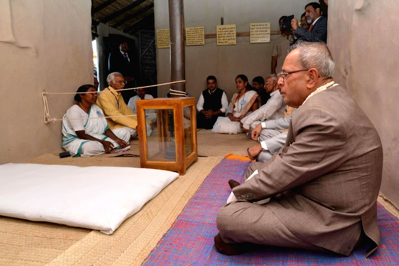 President Pranab Mukherjee during his visit to the Sewagram Ashram in Wardha, Maharashtra on Nov 26, 2014.