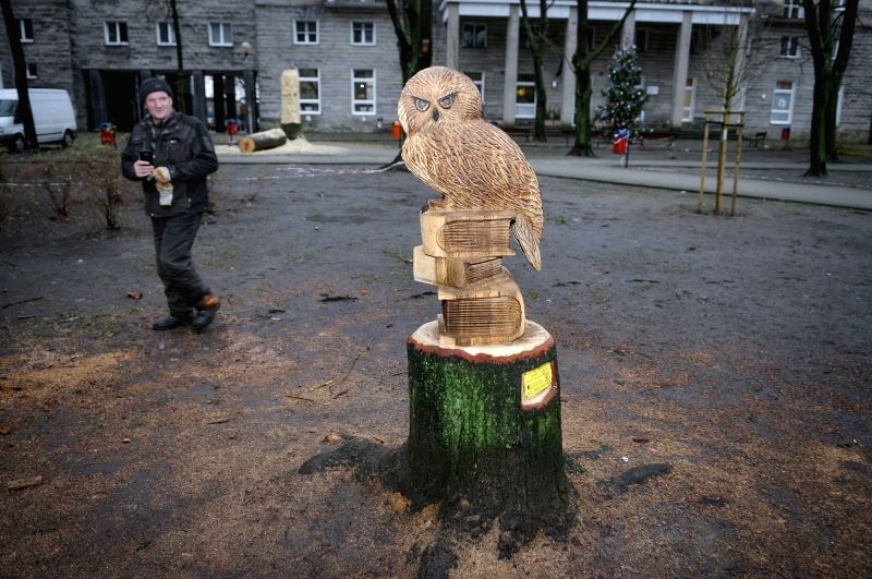 WARSAW, Jan. 29, 2018 - A wood sculpture is seen in Warsaw, Poland on Jan. 29, 2018. Andrzej Zawadzki, a Polish chainsaw artist, carved these old trees into sculptures.
