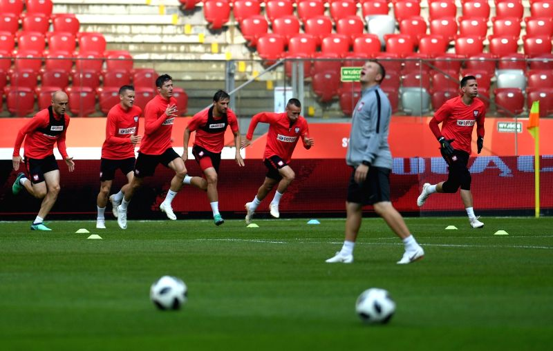 WARSAW, June 12, 2018 - Poland's players attend a training session ahead of the 2018 Russia World Cup, in Warsaw, Poland, on June 11, 2018.