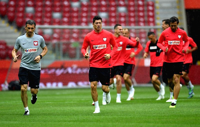 WARSAW, June 12, 2018 - Poland's Robert Lewandowski (2nd L) attends a training session ahead of the 2018 Russia World Cup, in Warsaw, Poland, on June 11, 2018.