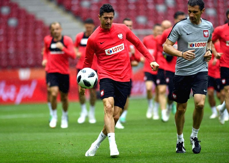 WARSAW, June 12, 2018 - Poland's Robert Lewandowski (L Front) attends a training session ahead of the 2018 Russia World Cup, in Warsaw, Poland, on June 11, 2018.
