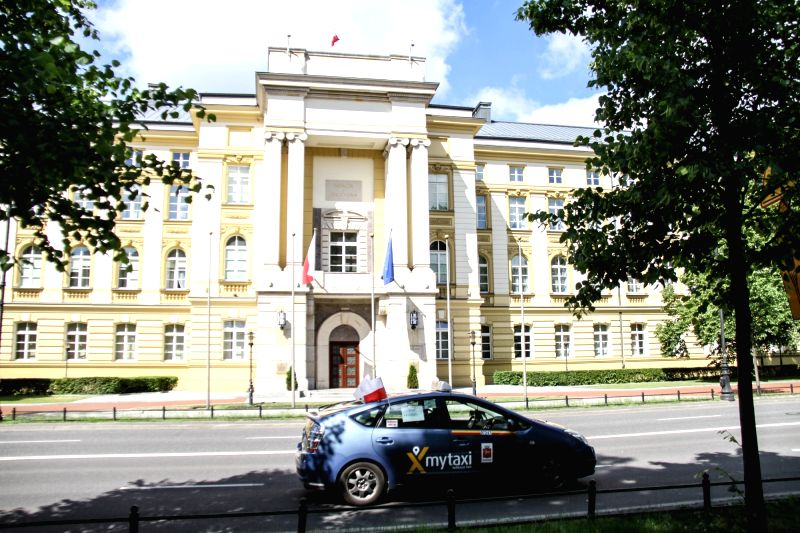 WARSAW, June 5, 2017 - A Polish taxi passes in front of the Polish Prime Miniter's Office with their cars honking in Warsaw, Poland, June 5, 2017. Hundreds of taxi drivers in Poland's four largest ...