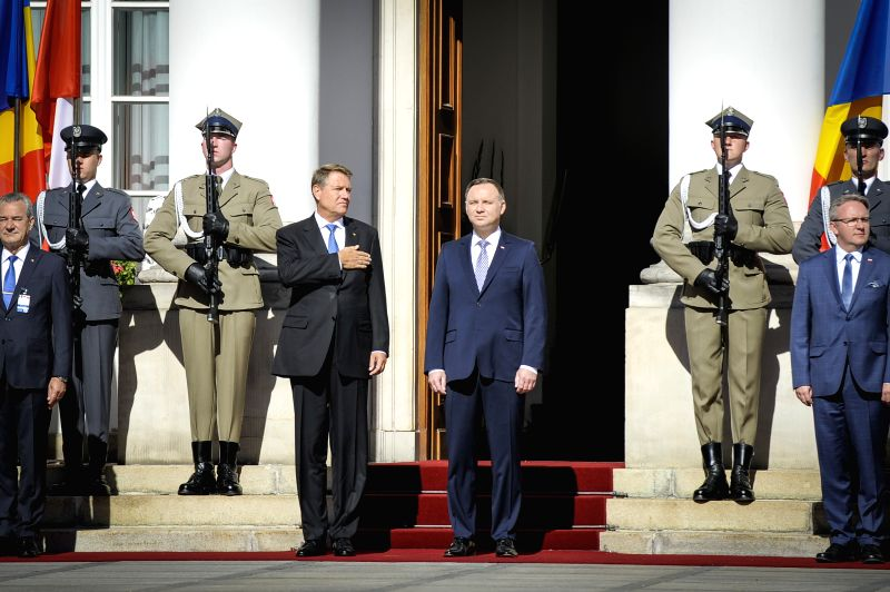 WARSAW, June 7, 2018 - Romanian President Klaus Iohannis (C-L) meets with Polish President Andrzej Duda (C-R) in Warsaw, Poland, on June 7, 2018. Iohannis started a two-day visit in Poland on ...