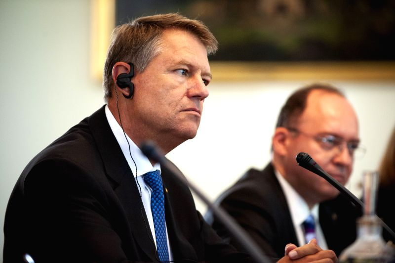 WARSAW, June 7, 2018 - Romanian President Klaus Iohannis (L) holds a meeting with Polish President Andrzej Duda (not in the picture) in Warsaw, Poland, on June 7, 2018. Iohannis started a two-day ...