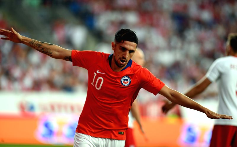 WARSAW, June 9, 2018 - Diego Valdes of Chile celebrates his goal during the international friendly game between Poland and Chile in Warsaw, Poland, on June 8, 2018.