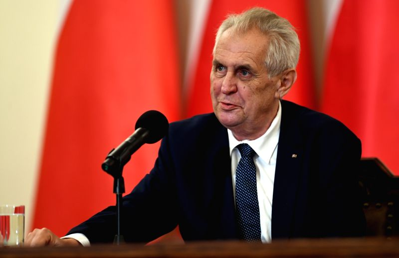 WARSAW, May 10, 2018 (Xinhua) -- Czech President Milos Zeman speaks at the Polish Presidential Palace in Warsaw, Poland, on May 10, 2018. Czech President Milos Zeman began his visit to Poland Thursday with a meeting with his Polish counterpart Andrze