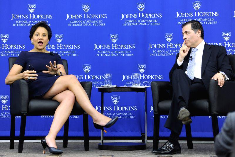 U.S. Commerce Secretary Penny Pritzker speaks at Johns Hopkins University in Washington April 17, 2014. Penny Pritzker on Thursday underlined the importance for