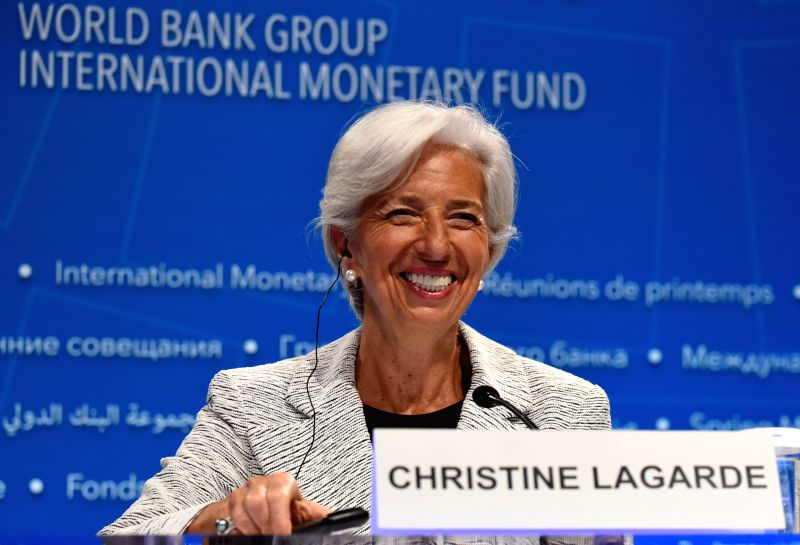 WASHINGTON, April 20, 2017 - International Monetary Fund (IMF) managing director Christine Lagarde attends a press conference during the 2017 World Bank and International Monetary Fund (IMF) Spring ... - Christine Lagarde
