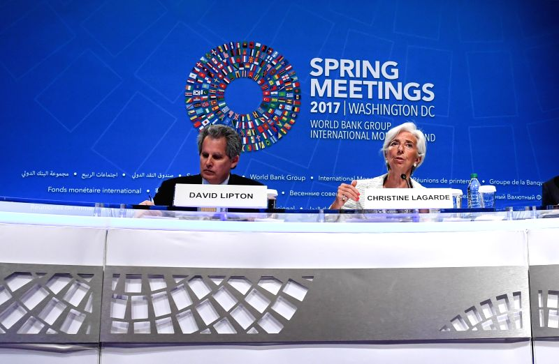 WASHINGTON, April 20, 2017 - International Monetary Fund (IMF) managing director Christine Lagarde (R) speaks at a press conference during the 2017 World Bank and International Monetary Fund (IMF) ... - Christine Lagarde
