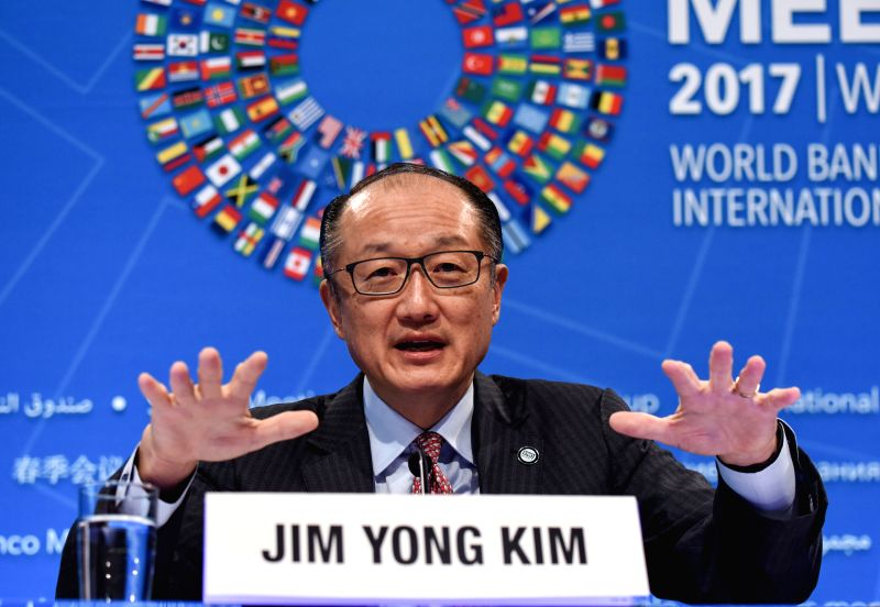 WASHINGTON, April 20, 2017 - World Bank President Jim Yong Kim speaks at the opening press conference of the 2017 World Bank and International Monetary Fund (IMF) Spring Meetings in Washington D.C., ...