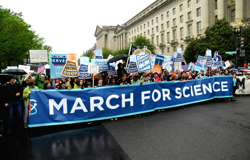 WASHINGTON, April 22, 2017 - Demonstrators participate in the March for Science in Washington D.C., the United States, on April 22, 2017. Tens of thousands of people attended the march in U.S. ...