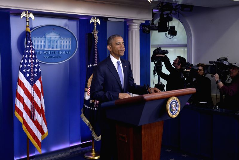 U.S. President Barack Obama delivers a statement in the Brady Press Briefing Room at the White House in Washington D.C., the United States, April 23, 2015. U.S. ...
