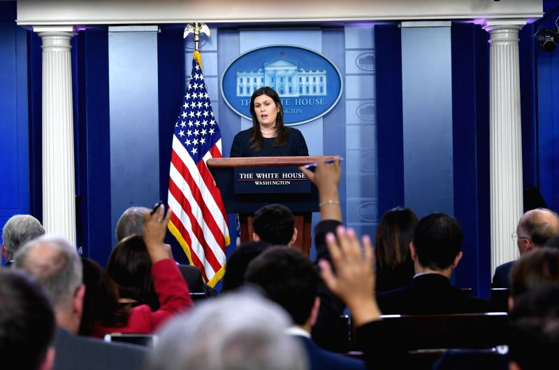 WASHINGTON, Aug. 1, 2018 - White House press secretary Sarah Sanders speaks at a press briefing at the White House in Washington D.C., the United States, Aug. 1, 2018. Sarah Sanders said Wednesday ...