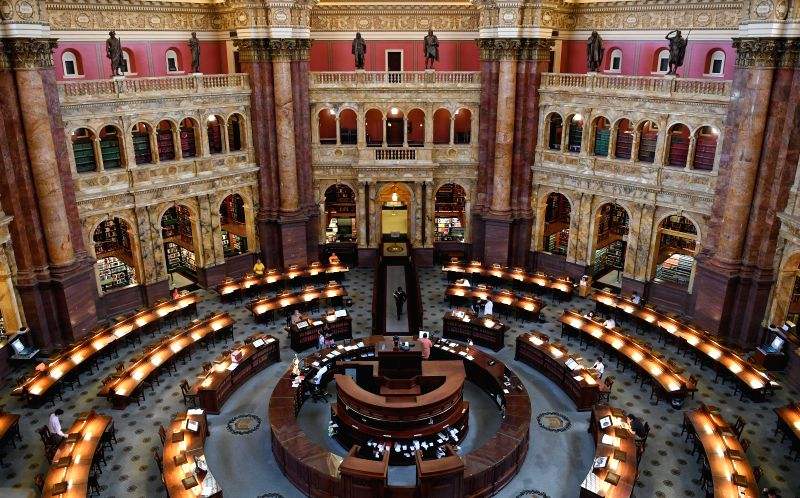 WASHINGTON, Aug. 10, 2018 - Photo taken on Aug. 10, 2018 shows the Main Reading Room of the U.S. Library of Congress in Washington D.C, the United States. Founded in 1800, the Library of Congress is ...