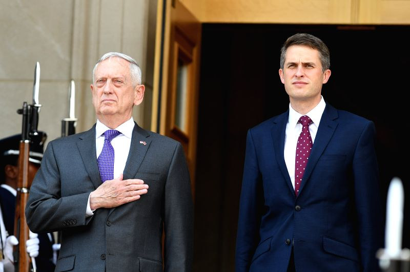 WASHINGTON, Aug. 7, 2018 - U.S. Defense Secretary James Mattis (L) holds a welcome ceremony for British Defense Secretary Gavin Williamson (R) at the Pentagon, Virginia, the United States, on Aug. 7, ...