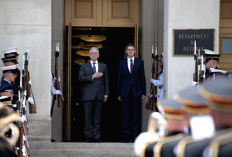 WASHINGTON, Aug. 7, 2018 - U.S. Defense Secretary James Mattis (C-L) holds a welcome ceremony for British Defense Secretary Gavin Williamson (C-R) at the Pentagon, Virginia, the United States, on ...