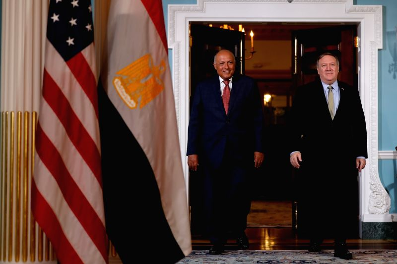 WASHINGTON, Aug. 8, 2018 - U.S. Secretary of State Mike Pompeo (R) and visiting Egyptian Foreign Minister Sameh Shoukry attend a photo opportunity before their meeting at U.S. Department of State in ... - Sameh Shoukry