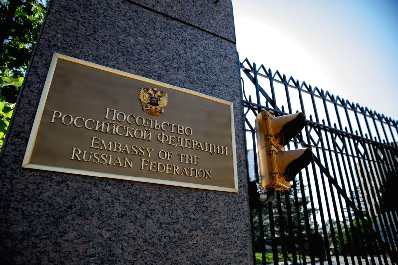 WASHINGTON, Aug. 9, 2018 - Photo taken on Aug. 8, 2018 shows the Embassy of Russia in Washington D.C., the United States. As the diplomatic brawl over Russia's alleged poison attack of an ex-spy and ...