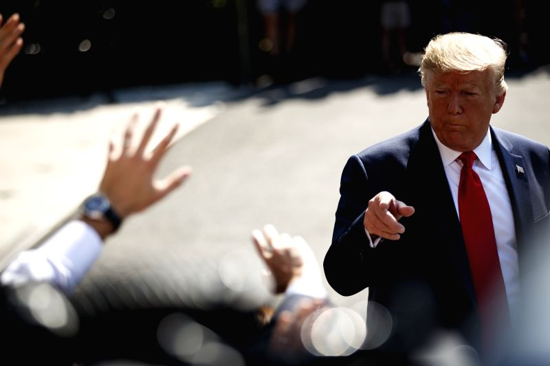 "WASHINGTON, Aug. 9, 2019 (Xinhua) -- U.S. President Donald Trump speaks to reporters before leaving the White House in Washington D.C., the United States, on Aug. 9, 2019. U.S. President Donald Trump on Friday said that he had received a ""beautiful"""
