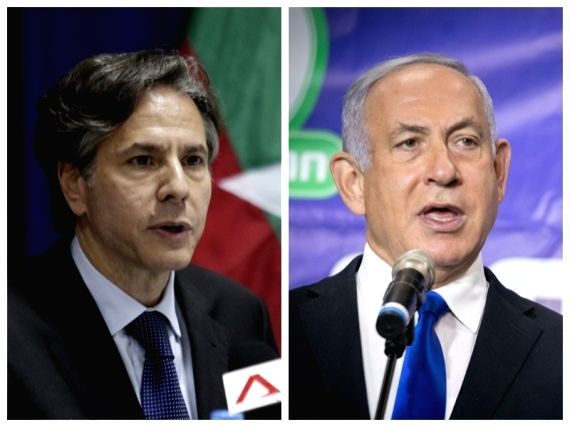 Washington: Combo photo of U.S. Secretary of State Antony Blinken (L) and Israeli Prime Minister Benjamin Netanyahu. (Xinhua/IANS)