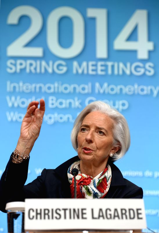 International Monetary Fund (IMF) Managing Director Christine Lagarde attends a press conference after the IMFC meeting during the IMF and World Bank ...