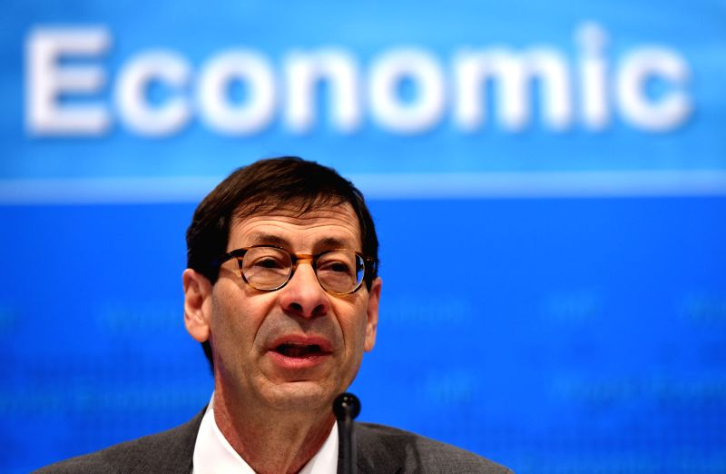 WASHINGTON D.C., April 18, 2017 - Maurice Obstfeld, chief economist at the International Monetary Fund (IMF), attends a press briefing at the IMF headquarters in Washington D.C., the United States, ...