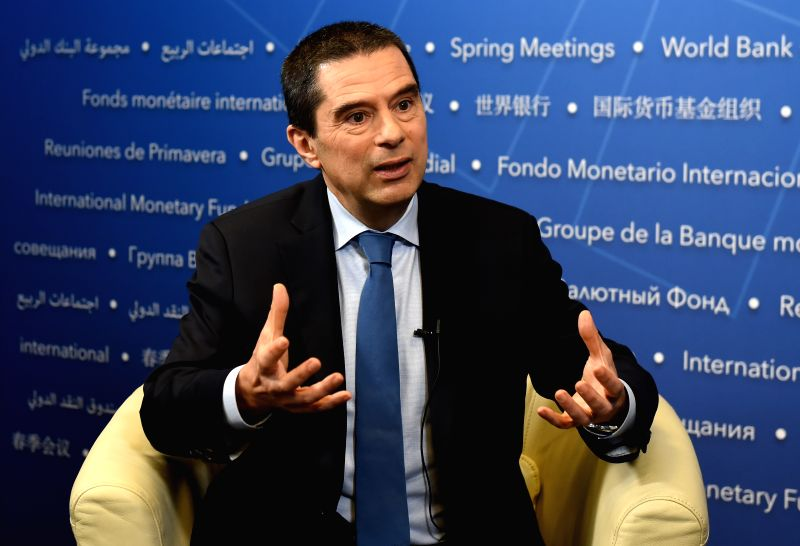 WASHINGTON D.C., April 20, 2017 - Vitor Gaspar, director of the International Monetary Fund (IMF) Fiscal Affairs Department, speaks during an interview with Xinhua News Agency in Washington D.C., the ...