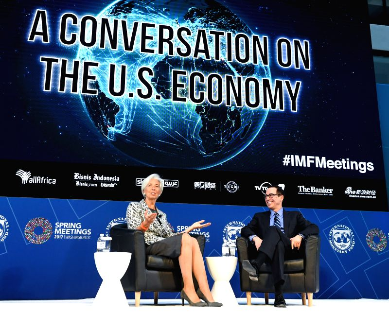 WASHINGTON D.C., April 23, 2017 - U.S. Treasury Secretary Steven Mnuchin (R) and Christine Lagarde, managing director of the International Monetary Fund (IMF), attend a conversation on the U.S. ...
