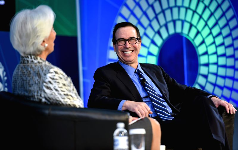 WASHINGTON D.C., April 23, 2017 - U.S. Treasury Secretary Steven Mnuchin (R) smiles as he speaks with Christine Lagarde, managing director of the International Monetary Fund (IMF), during a ...