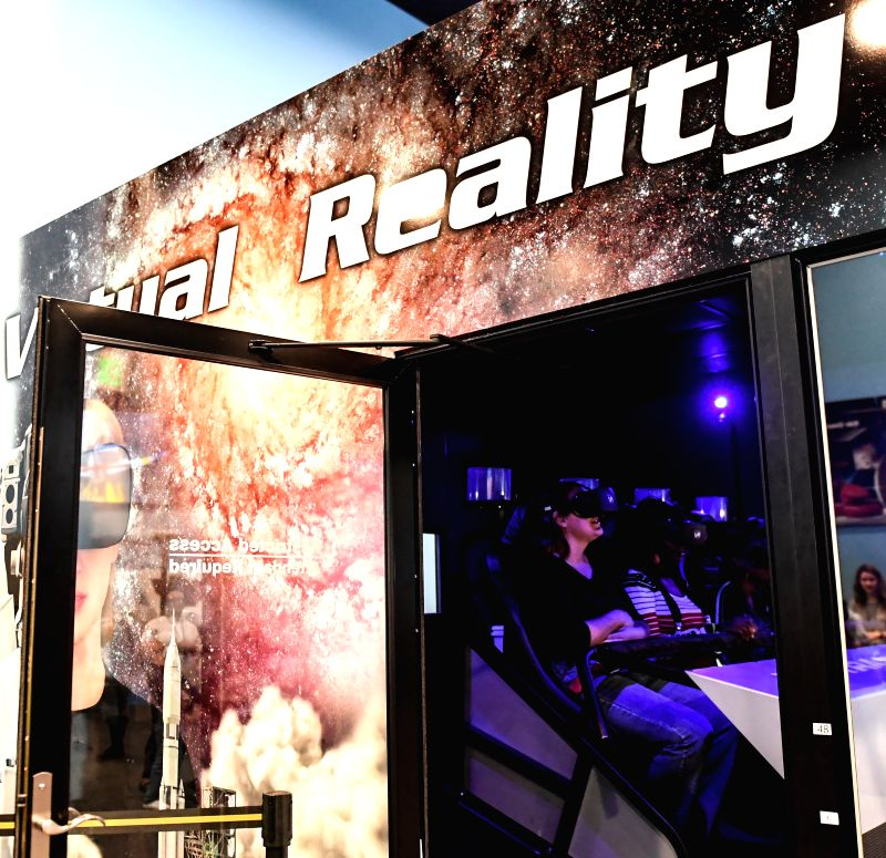 WASHINGTON D.C., April 26, 2017 - People enjoy themselves at Smithsonian's National Air and Space Museum which unveiled a new motion-based virtual reality (VR) Transporter provided by Pulseworks LLC, ...