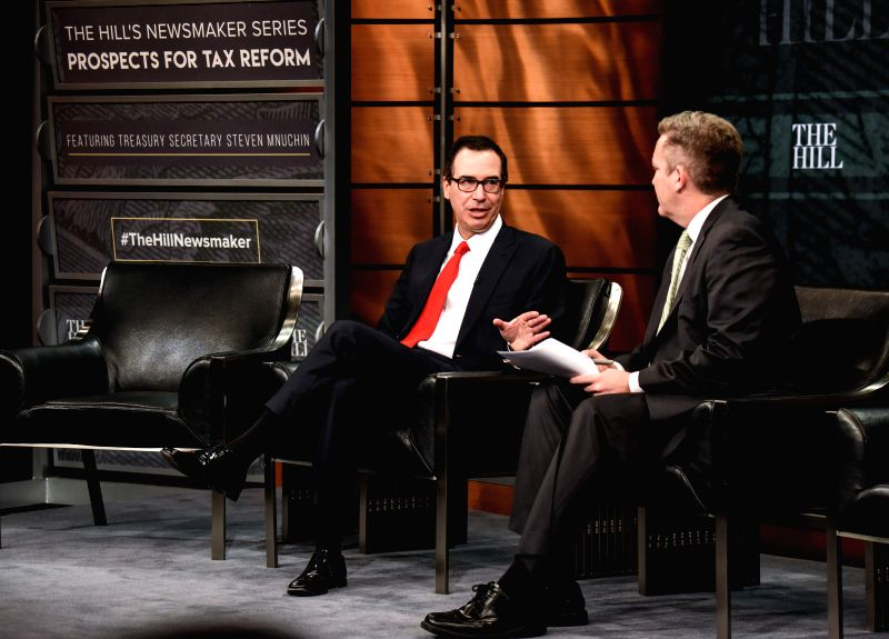 WASHINGTON D.C., April 27, 2017 - U.S. Treasury Secretary Steven Mnuchin(L) speaks during a panel on 'Prospects for Tax  Reform' at the Newseum, in Washington D.C., capital of the United States, ...