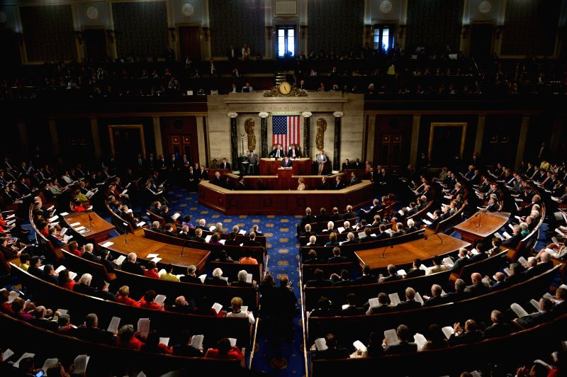 Japanese Prime Minister Shinzo Abe (C) addresses a joint meeting of Congress on Capitol Hill in Washington D.C., the United States, April 29, 2015. ... - Shinzo Abe