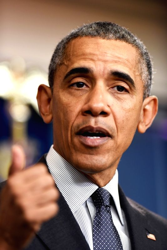 WASHINGTON D.C., April 5, 2016 - U.S. President Barack Obama speaks about the economy and corporate tax inversions in the Brady Press Briefing Room of the White House in Washington D.C., capital of ...