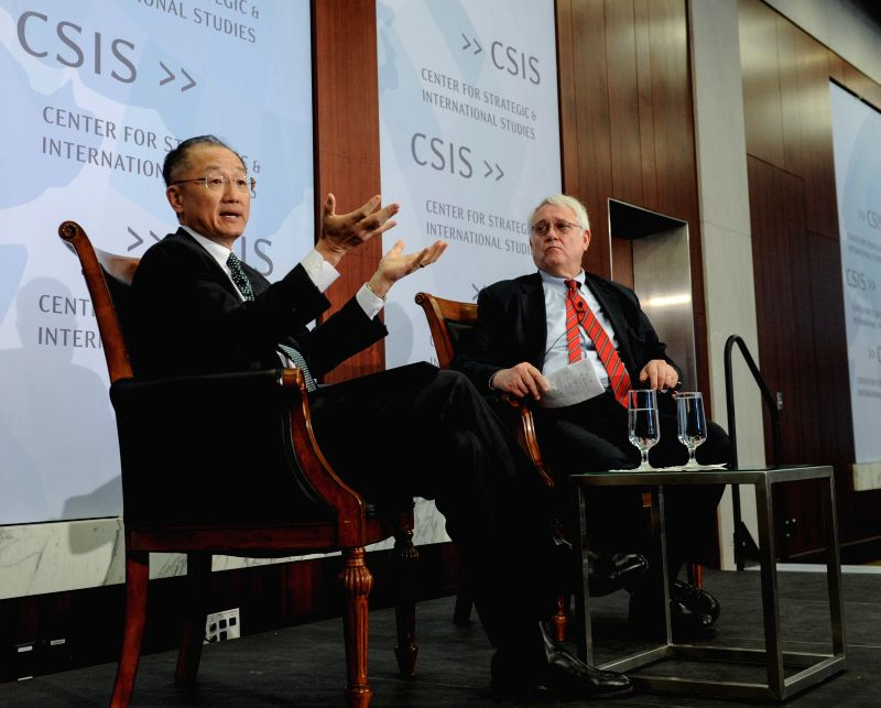 World Bank President Jim Yong Kim (L) gives a public address at the Center for Strategic and International Studies (CSIS) in Washington D.C., capital of the ...