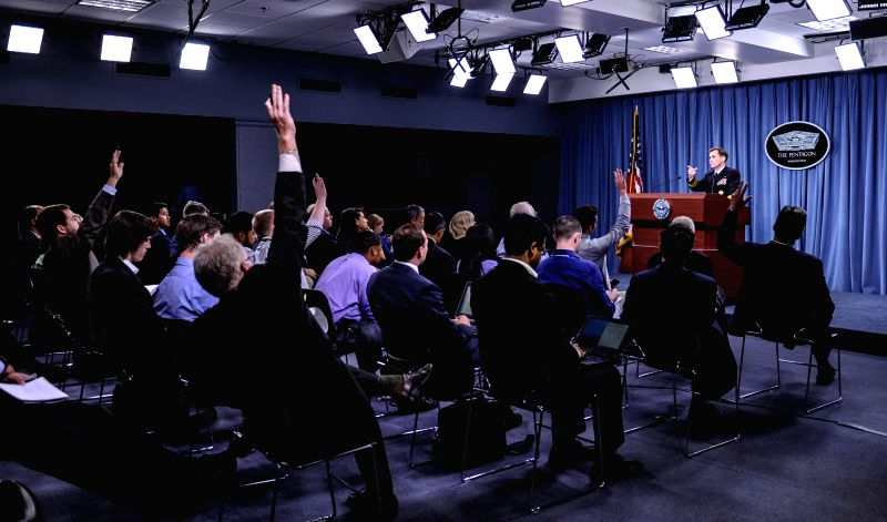 Pentagon Press Secretary John Kirby speaks during a briefing at the Pentagon in Washington D.C., capital of the United States, Aug. 14, 2014. While the ...