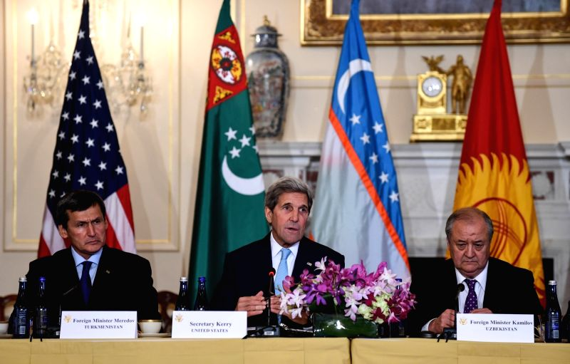 WASHINGTON D.C., Aug. 4, 2016 - U.S. Secretary of State John Kerry (C) speaks at the second U.S.-Central Asia (C5+1) foreign ministerial meeting, which is also attended by foreign ministers from ...