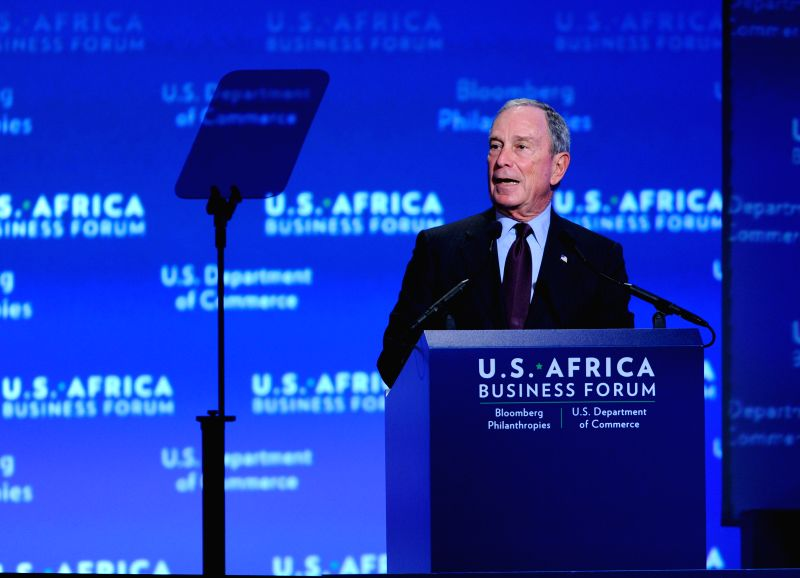 Former New York Mayor Michael Bloomberg speaks during the business forum of the first U.S.-Africa Summit in Washington D.C., capital of the United States, ...