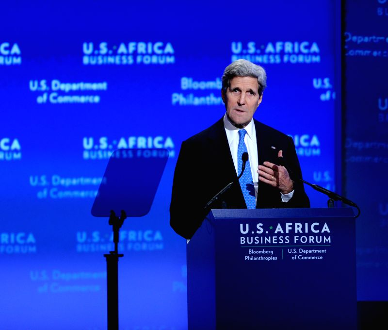 U.S. Secretary of State John Kerry speaks during the business forum of the first U.S.-Africa Summit in Washington D.C., capital of the United States, Aug. 5,