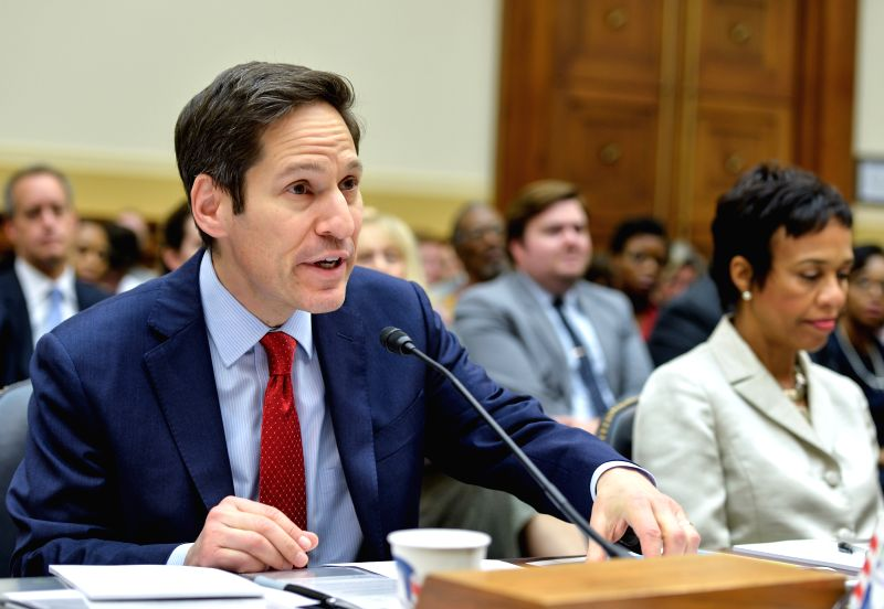 Tom Frieden (L), director of the U.S. Centers for Disease Control and Prevention (CDC), speaks during a hearing on combating the Ebola threat, on Capitol ...