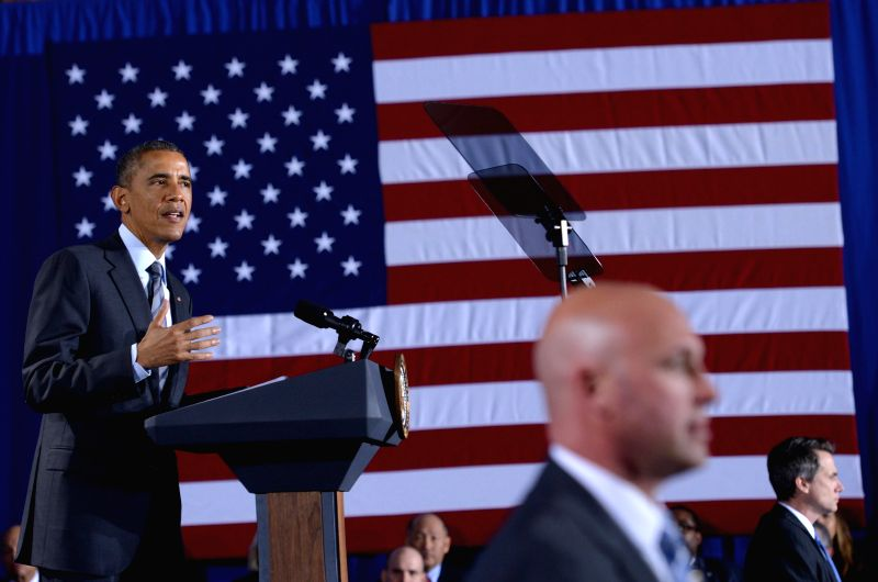 U.S. President Barack Obama delivers remarks on his proposal for budget for fiscal 2016 at the Department of Homeland Security in Washington D.C., the United