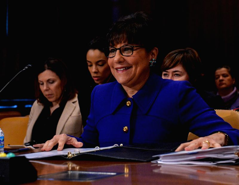 U.S. Commerce Secretary  Penny Pritzker prepares to testify before Senate Subcommittee on Commerce, Justice, Science and Related Agencies on the Fiscal Year ...