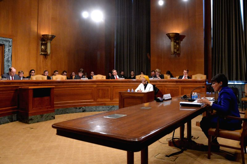 U.S. Commerce Secretary Penny Pritzker(R) testifies before Senate Subcommittee on Commerce, Justice, Science and Related Agencies on the Fiscal Year 2016 ...